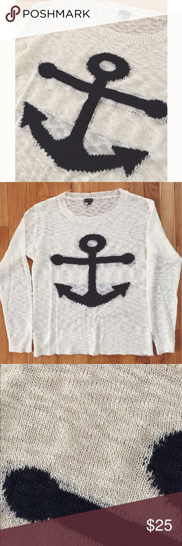 Anchor sweater⚓️ Super soft cream & navy anchor sweater! 100% acrylic material. One small stain shown in third picture. S/M fits 2-4 size approximately. The Rage  Sweaters Cardigans