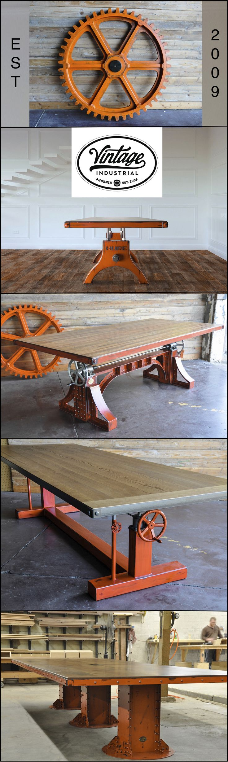 Post industrial conference table vintage industrial furniture - Industrial Orange Gear And Tables Made By Vintage Industrial In Phoenix We Specialize In Dining And Conference Tables