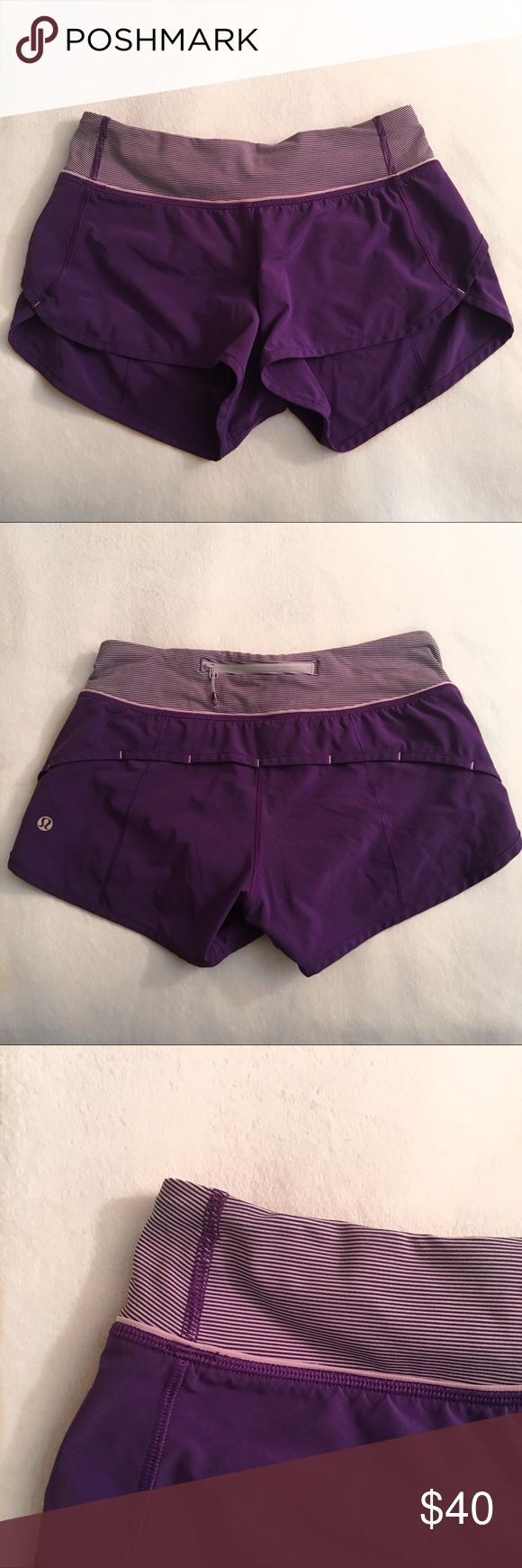 Purple Lululemon Speed Shorts In great condition, no flaws. Super cute and comfy. Perfect to workout in or wear casually. For size reference this is an XXS (which is a size 2 in lulu). No trades. lululemon athletica Shorts