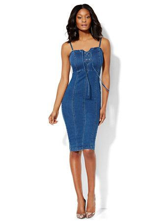 Shop Soho Jeans - Jennifer Hudson Convertible Lace-Up Dress - Wellness Blue Wash . Find your perfect size online at the best price at New York & Company.