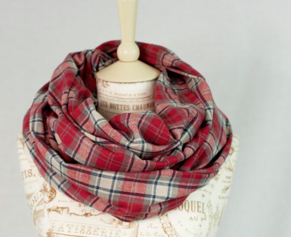 Red Plaid Infinity Scarf by ForgottenCotton  Plaid is here and we are in love! We love our flannel plaid scarf for its versatility and comfort.