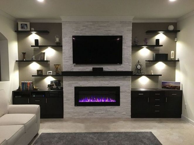 45 Secret Facts About Floating Shelves Living Room Mounted Tv Entertainment Center Colorad Living Room With Fireplace Trendy Living Rooms Living Room Tv Wall