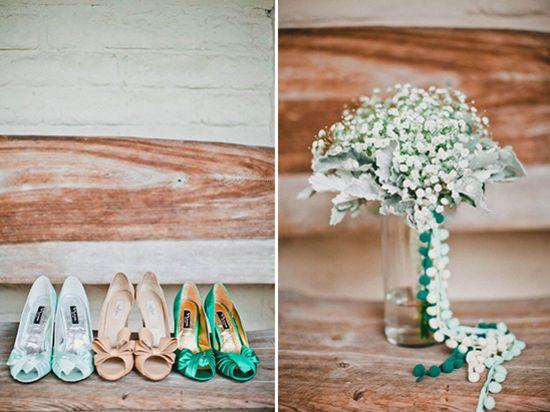 зеленых подружек невесты обувь