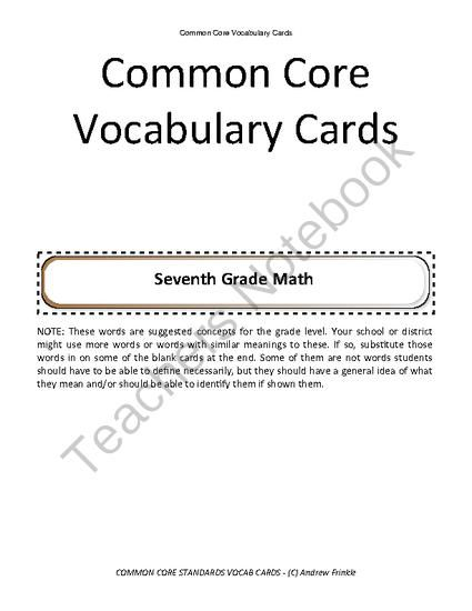 seventh grade common core standards vocabulary cards Math ELA from Velerion Damarke on TeachersNotebook.com -  (24 pages)  - Need extra help with Common Core? Check out these vocabulary cards for Common Core Math and Common Core ELA Standards. There are over 300 cards for grade 7.