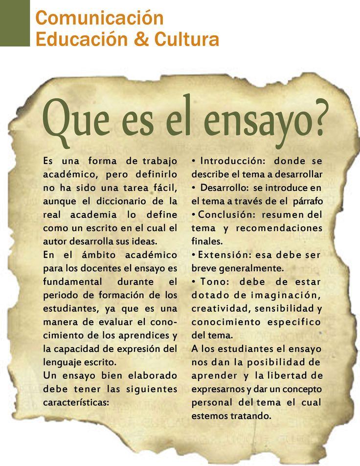 """El Diccionario de la Real Academia Española define el ensayo como """"escrito, generalmente breve, sin el aparato ni la extensión que r..."""