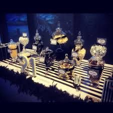 black gold candy buffet - Google Search: Gatsby Party, Gold Candy Buffet, Google Search, Malus Grad, Black Gold, Grad Party, Seany Pie, Baby Shower