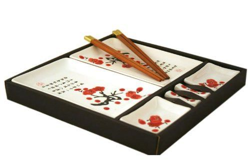 Contemporary Dinnerware 8 PCS Sushi Dinner Set For Two In Gift Box
