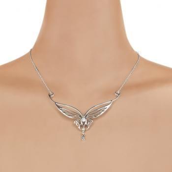 """#Collana elfica """"Elf Necklace Butterfly"""" de #IlSignoreDegliAnelli in argento Sterling 925, ornata con zirconi. Dimensioni: 7 x 4 cm circa. Lunghezza catenina: 17,5 cm (per lato)."""