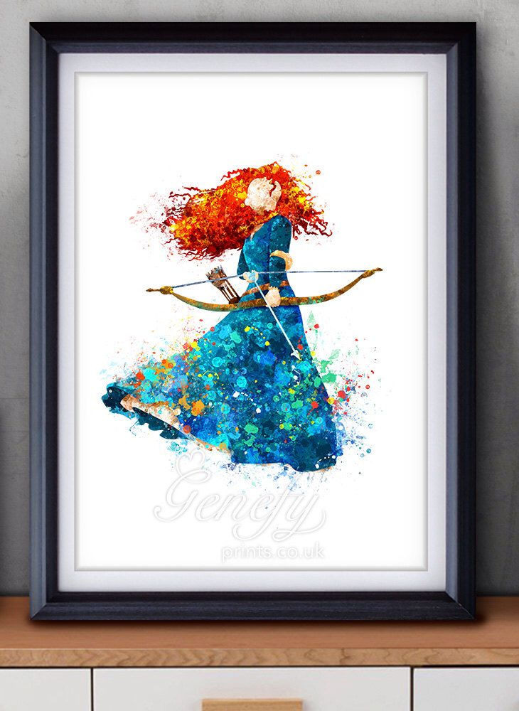 Disney Princess Merida, Brave Watercolor Poster Print - Watercolor Painting - Watercolor Art - Kids Decor- Nursery Decor by GenefyPrints on Etsy https://www.etsy.com/listing/254495133/disney-princess-merida-brave-watercolor
