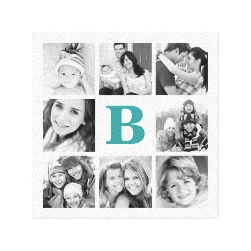 Custom Monogram Family Photo Collage Canvas Gallery Wrap Canvas