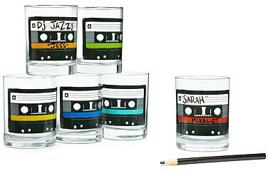Mixtape Glasses - Set of 6. Take all-occasion glassware on a retro rewind with these colorful mixtape glasses. The blank tape allows partygoers to write their names or favorite power ballad on the cassette using the included wax pencil, giving you a personalized playlist and a great way to keep track of drinks. Made in USA.: