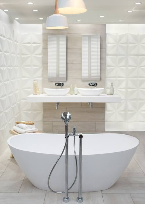 Complete the crystal look with a freestanding stoneware bath.