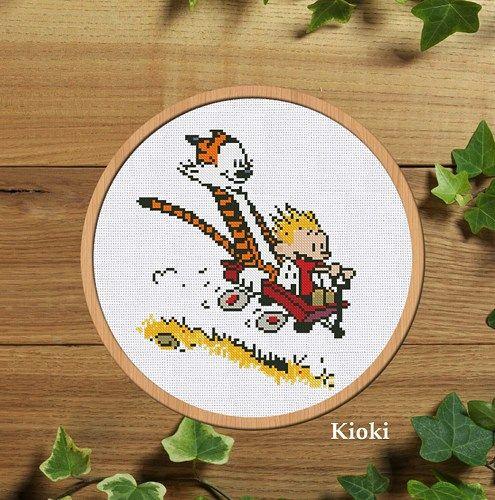 Cross stitch pattern Fun with Hobbes