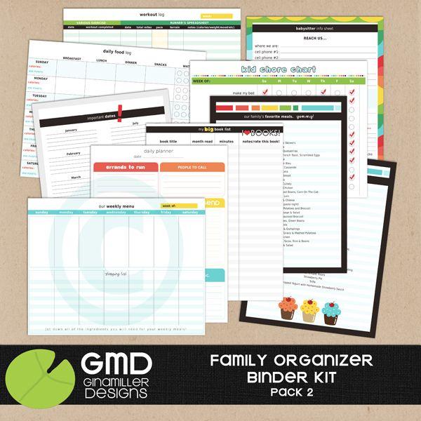 Gina Miller Designs Family Organizer Binder