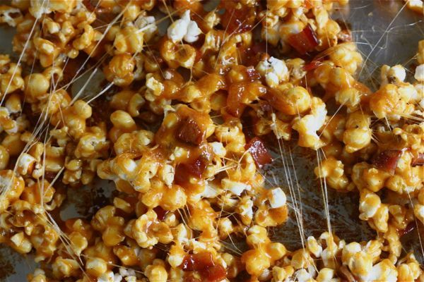 Spicy carmel bacon popcorn - nothing healthy about this - going to need to give it a try!