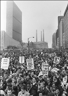 NYC protest against the war in Vietnam in front of the United Nations building, 1966. For me, this is why our government let the attack on 911 happen...so they'd not have this many people protesting the war they needed to create.