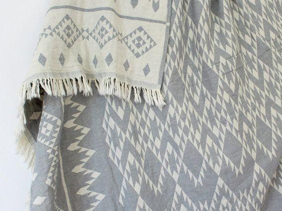 Navajo Throw Blanket Southwestern Blanket Grey by onTheRainbow