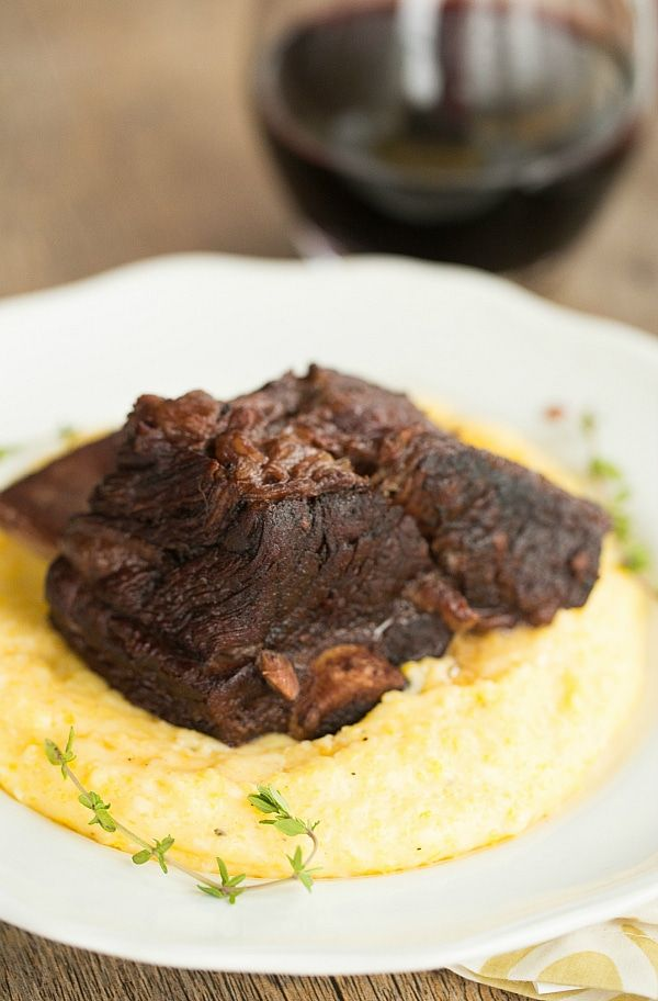 Braised Short Ribs with Cheesy Grits |  The short ribs were VERY hard to find.  I ended up cutting up a chuck roast instead.  The meat and the grits were both really good but it needed a sauce to pull it all together.  There was plenty of sauce to reduce or thicken, but I didn't want to mess with it.