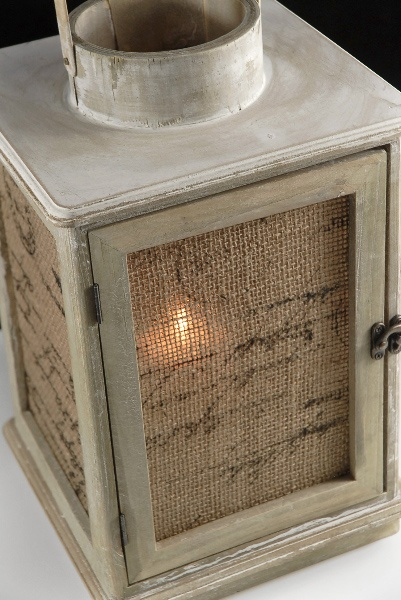 Burlap and wood lamp with battery candle