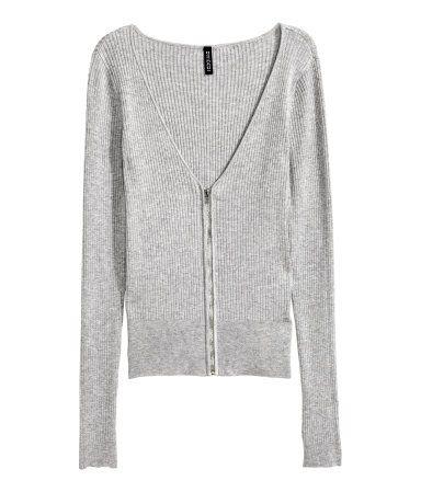 Cardigan with a zip   Grey marl   Ladies   H&M NZ