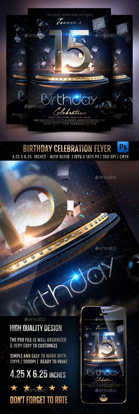 Birthday Celebration Party Flyer — Photoshop PSD #psd #anniversary party • A...