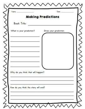 Just a little organizer to get kids thinking about predictions within a text. Also has an area for a drawing.