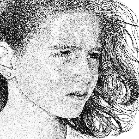 drawing by dots of black ink #artpeople click on the link below to see more.. www.artpeoplegallery.com