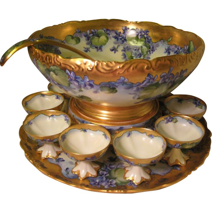 "Gorgeous Antique T&V LIMOGES FRANCE Complete Hand Painted Porcelain PUNCH BOWL and Matching Plinth/Pedestal/Base and Matching 18"" Tray ~ Ladle ~ Sixteen Cups ~ Beautiful Lavender Violets ~ Victorian Masterpiece Heirloom Treasure ~ Circa 1900 from Old Beginnings Antiques on Ruby Lane"