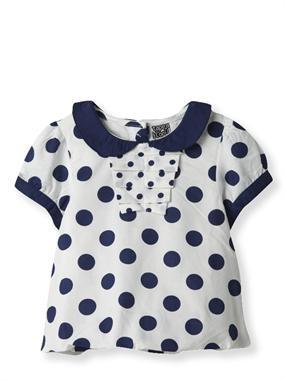 Camisa retro para bebé niña. Con el 50 % de descuento de los Fun Days se queda en solo 6,49 €. #lunares #claudine