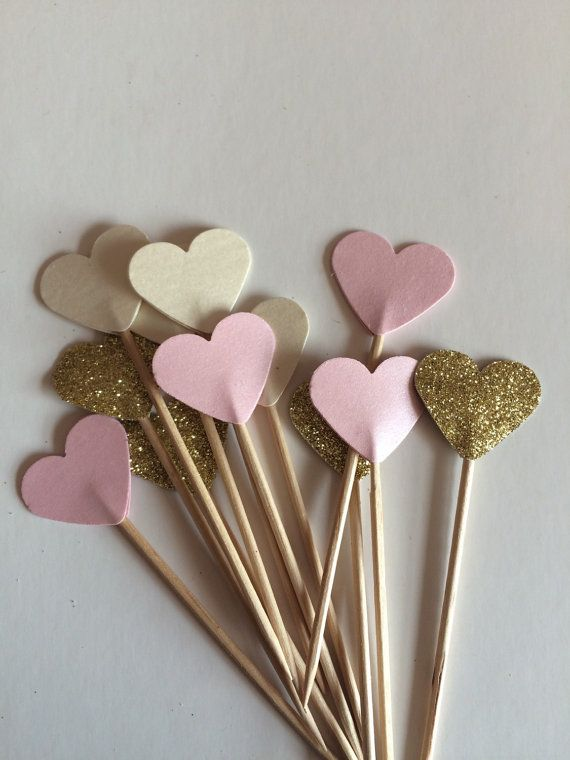 Perfect pink cream pastel and glitter cupcake toppers, flags. Wedding shower