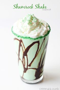 A vanilla-mint shake with chocolate swirl and whipped cream - inspired by the famous McDonalds Shamrock Shake! Perfect for St. Patty's Day!
