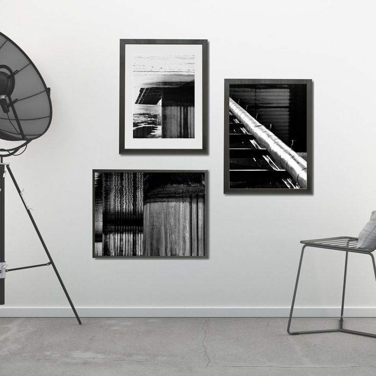 Abstract black and white gallery wall. Perfect match for your modern or industrial style interior! Available as instant download.