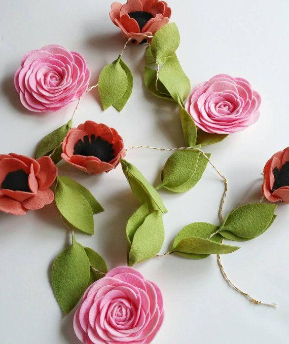 Felt Flower Garland--Felt Garland--Flower Garland--Wall Garland--Baby Girl Nursery--Rustic Wedding Decor--Cute Office Decor--Floral Decor