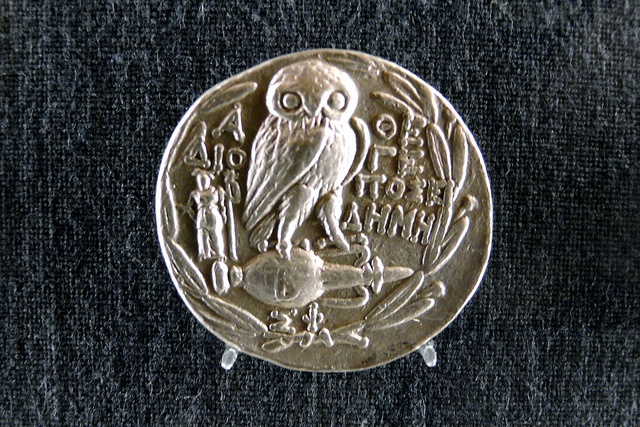 silver corithian tetradrachm with owl and athena    Numismatic Museum of Athens.