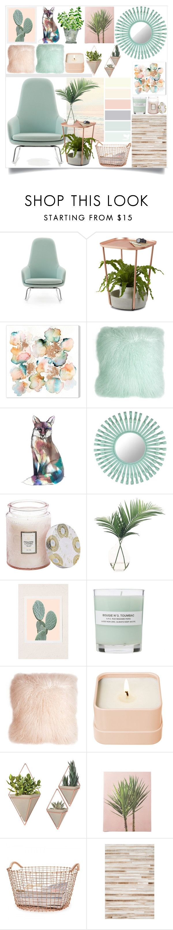 """Peach Beach"" by atarituesday on Polyvore featuring interior, interiors, interior design, home, home decor, interior decorating, Normann Copenhagen, Umbra, Pillow Decor and Florence Broadhurst"