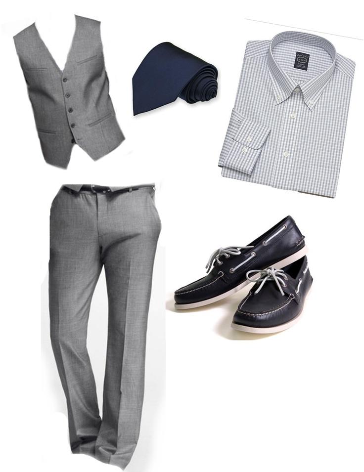Groomsmen in grey vest and slacks, navy tie, navy Sperry top-siders