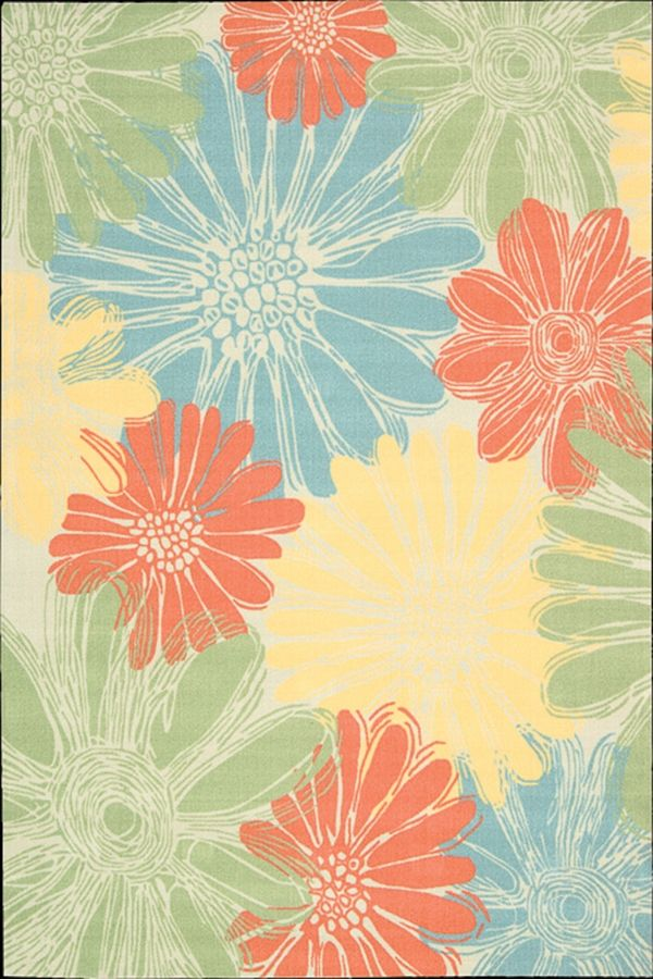 Green Blue And Coral Area Rug Home Decorating