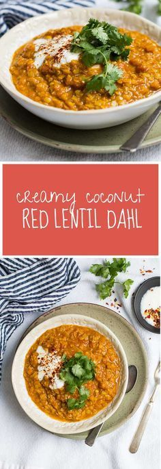 One of our fave fall and winter meals, this Creamy Coconut Red Lentil Dahl is super-flavourful and simple and inexpensive to prepare. It's also gluten-free and vegetarian (with a vegan option).