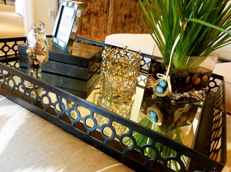 ottoman coffee table mirrored tray decor