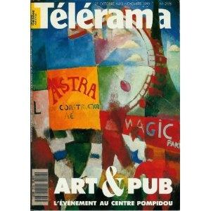 Télérama - n°2128 - 24/10/1990 - Art & pub, l'événement au Centre Pompidou [magazine mis en vente par Presse-Mémoire]