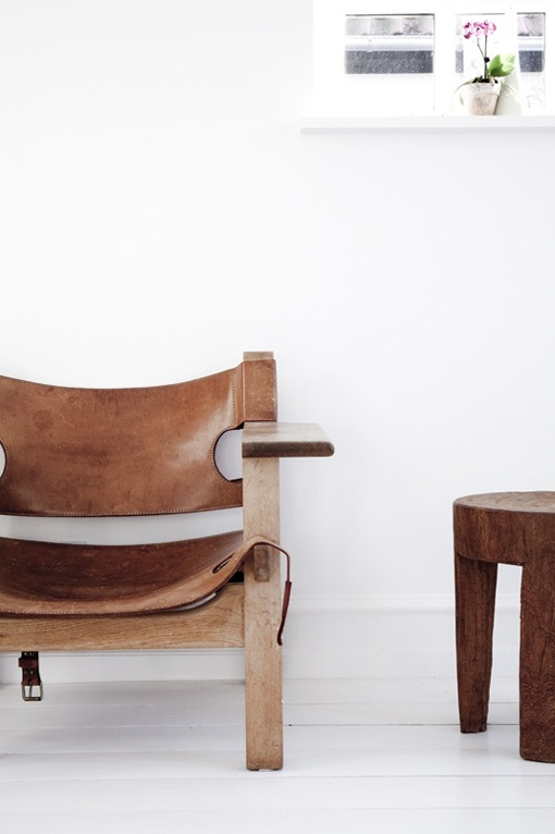 ... Springy And Hard Wearing Leather Slings To Sit And Lean Back On. Also,  The Useful Arm Rests That Can Hold Drinks. Spanish Chair By Børge Mogensen
