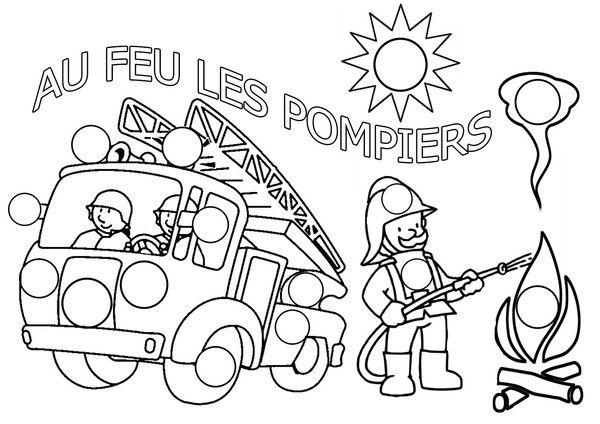 coloriage pompier à gommettes