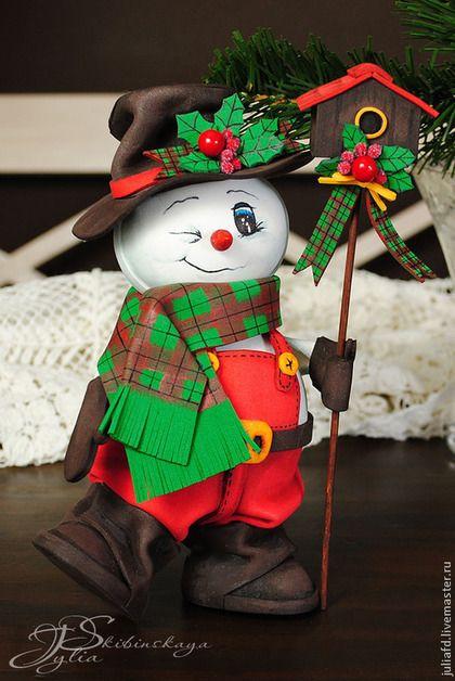 Снеговичок - новогодняя игрушка из фоамирана. Handmade.