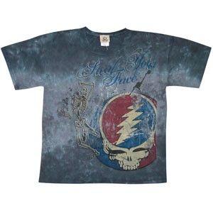 Grateful Dead - Half Step Tie Dye T-Shirt  Half step, Mississippi uptown toodleloo. A tie dye Grateful Dead t-shirt that has a dancing skeleton over a distressed SYF logo. Officially licensed Grateful Dead merchandise. #sunshinedaydream #hippieshop