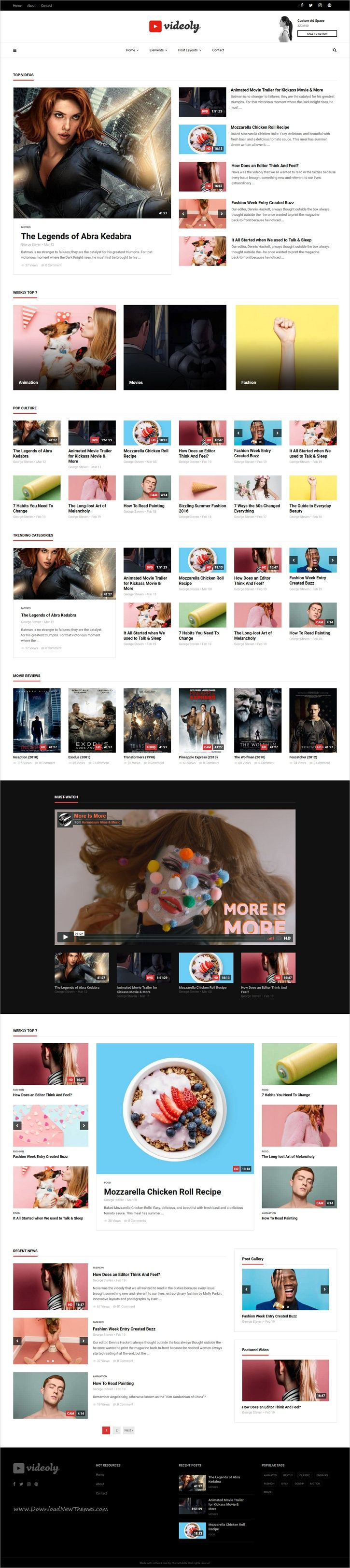 Videoly is clean and modern design responsive #WordPress #video theme suitable for bloggers, #YouTube & #vloggers website with 9+ unique homepage layouts download now➩ https://themeforest.net/item/videoly-video-wordpress-theme/19557971?ref=Datasata