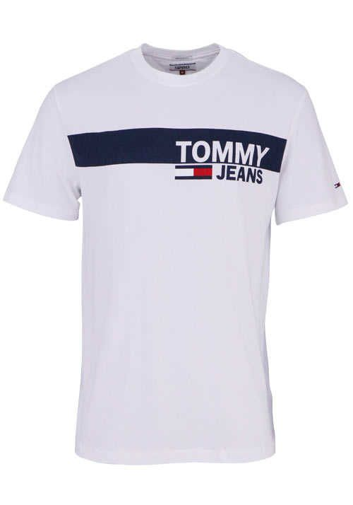 03122e450d863 TOMMY JEANS Halbarm T-Shirt Rundhals Schrift-Print weiß | Tommy ...
