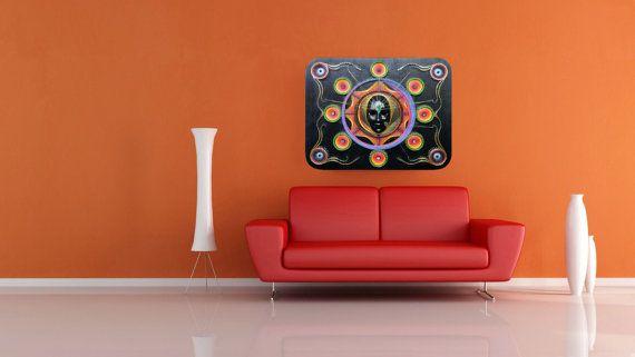 String & Nail Art 'Mask Mandala'. Wall Art on by DantheStringArt