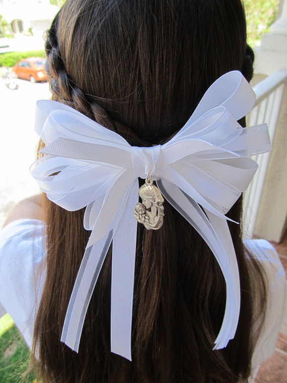 First Holy Communion Hair Bow by PinanStudio