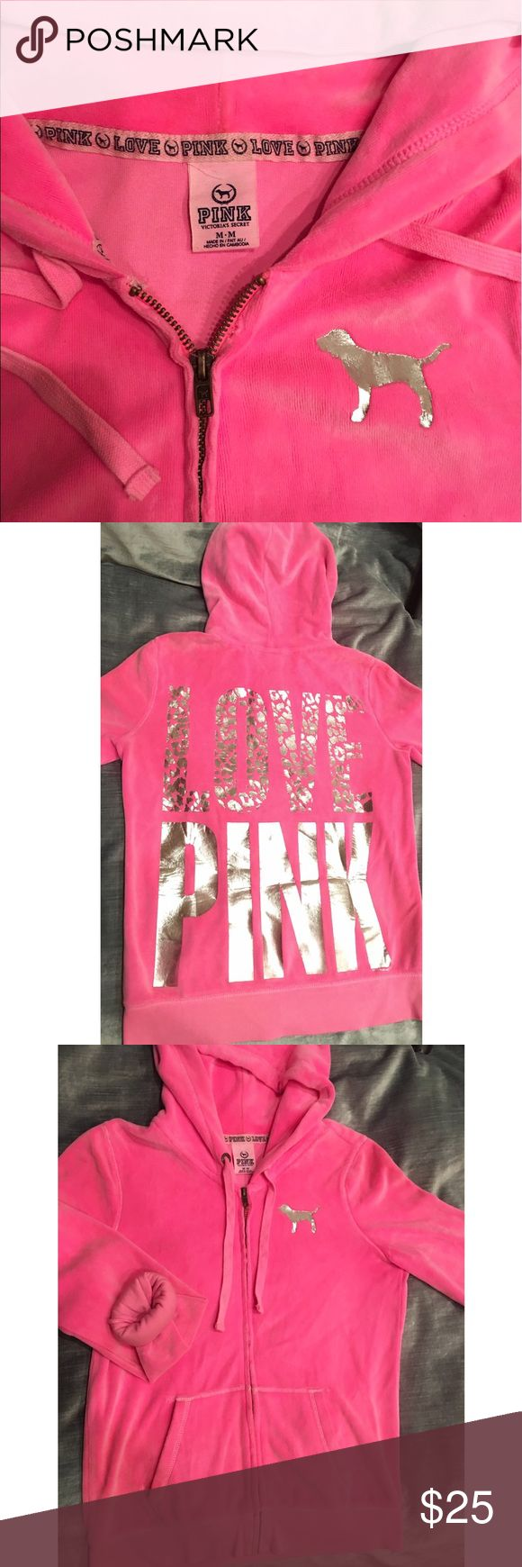 PINK VS Hott Pink Velour Hoodie  Hot pink velour hoodie by Victoria's Secret. Silver dog on front and silver lettering on back. Sleeves have the same rubber band type thing that is at the bottom of VS sweatpants! This is my sisters...she gets rid of things she has barely worn and it looks brand new (color pigment of jacket is really bright) except for a tiny bit of wear on the elbows, may even come out with an additional tumble dry. Size M  ✨ PINK Victoria's Secret Jackets & Coats