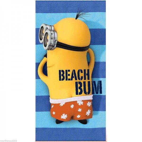 Asciugamano Telo Mare Bagno Kevin Minions in Spugna di Cotone 70x140cm…